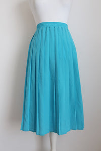 VINTAGE SKY BLUE PLEATED MIDI SKIRT - SIZE 16