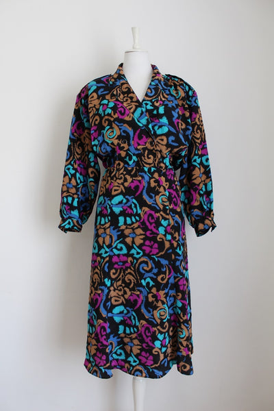VINTAGE FLORAL PRINT BLACK MULTICOLOUR DRESS - SIZE 18