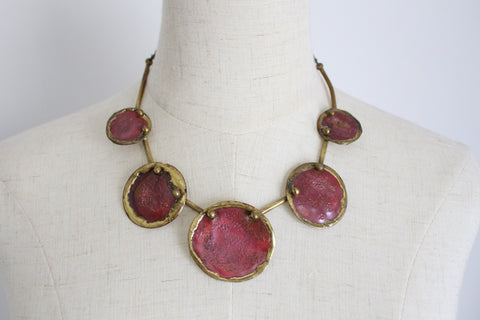 VINTAGE HAND MADE BRASS CIRCLES NECKLACE