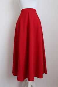 VINTAGE RED HIGH WAIST A-LINE FLARED SKIRT - SIZE 8