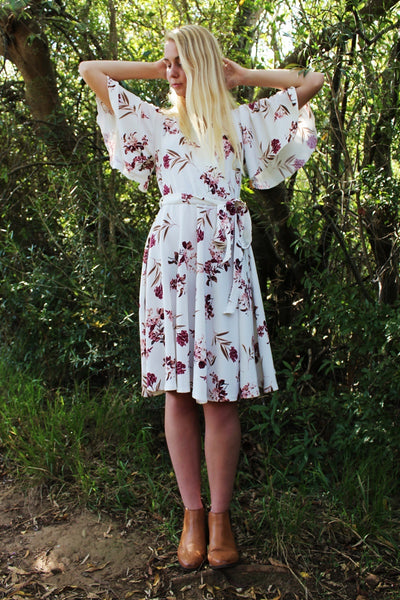 THE EMILY DRESS - CREAM BURGUNDY