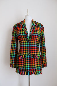 FUTURE OZBEK DESIGNER VINTAGE PLAID RAINBOW JACKET - SIZE 8