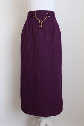 VINTAGE PURPLE CHAIN BELT STRAIGHT SKIRT - SIZE 6