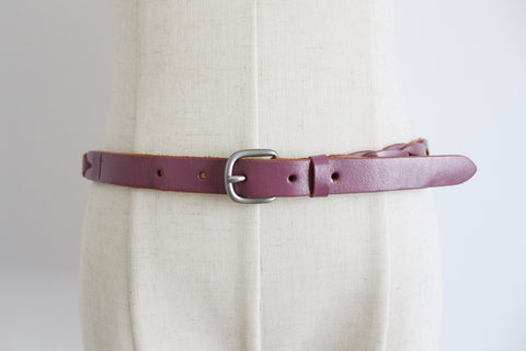 GENUINE LEATHER VINTAGE PINK BRAIDED BELT