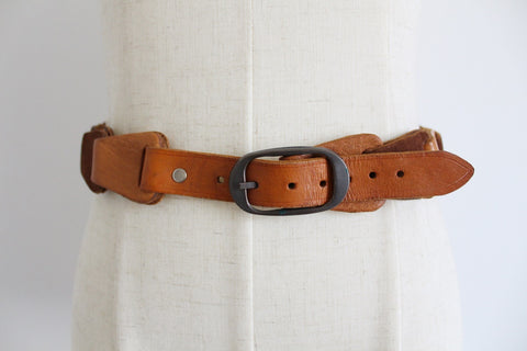 GENUINE LEATHER VINTAGE TAN WOVEN BELT
