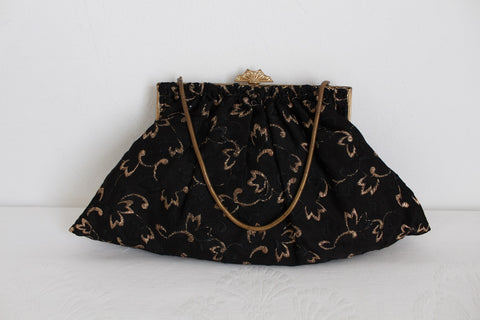 VINTAGE GOLD BLACK EMBROIDERY EVENING BAG