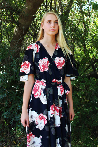 THE EMILY DRESS - NAVY ROSE