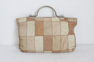 VINTAGE GENUINE LEATHER PATCH BEIGE HANDBAG