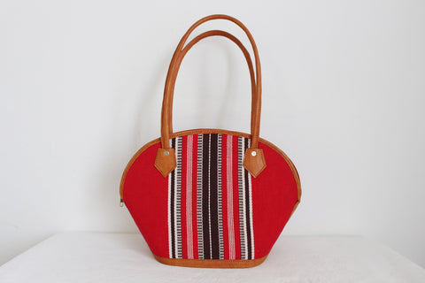 VINTAGE STRIPED COTTON GENUINE LEATHER SHOULDER BAG