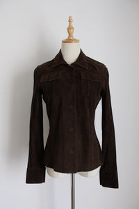 JOSEPH DESIGNER GENUINE SUEDE LEATHER JACKET - SIZE 6