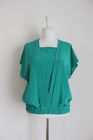 VINTAGE PLEATED TURQUOISE BLOUSE - SIZE 14