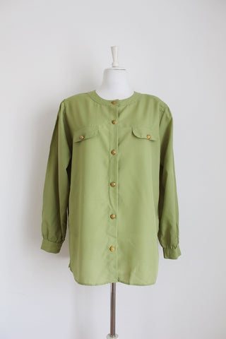 VINTAGE OLIVE GREEN LONG SLEEVE BLOUSE - SIZE 14