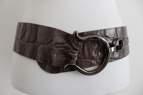 ROBAKO CEINTURES VINTAGE GENUINE LEATHER CROC BELT