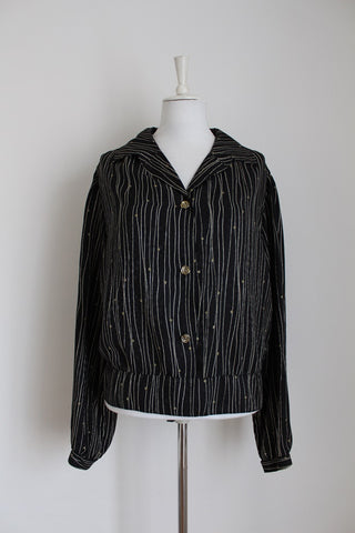 VINTAGE BLACK STRIPE PRINTED BLOUSE - SIZE 22