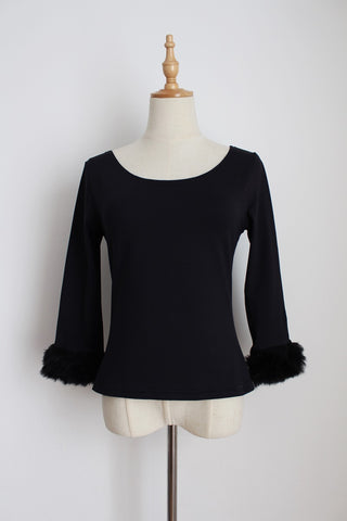 VINTAGE FAUX FUR CUFF BLACK FITTED TOP - SIZE 10