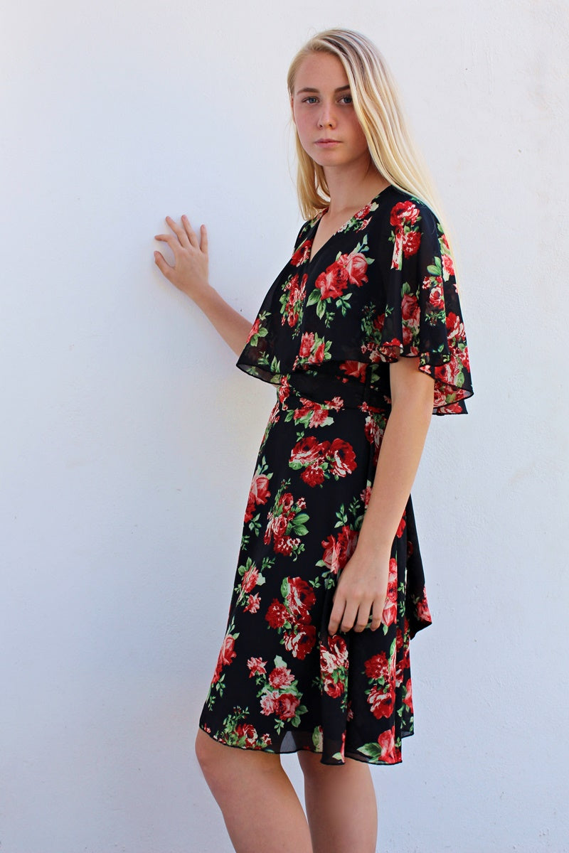 THE HOPE DRESS - BLACK ROSE