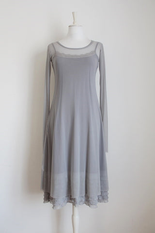 COLLEEN EITZEN DESIGNER GREY MESH DRESS - SIZE M