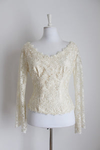 VINTAGE LACE SATIN BEADED BRIDAL TOP - SIZE 10