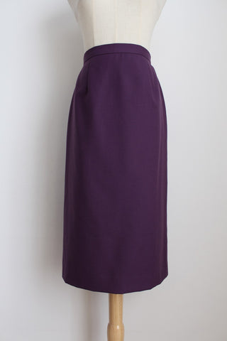 VINTAGE WOOL PURPLE PENCIL SKIRT - SIZE 6