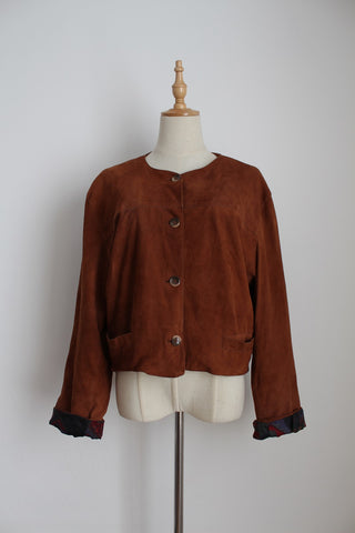 VINTAGE GENUINE SUEDE LEATHER CROPPED JACKET - SIZE 14