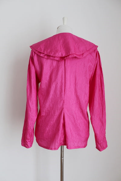VINTAGE HOT PINK DOUBLE COLLAR BLOUSE - SIZE 16
