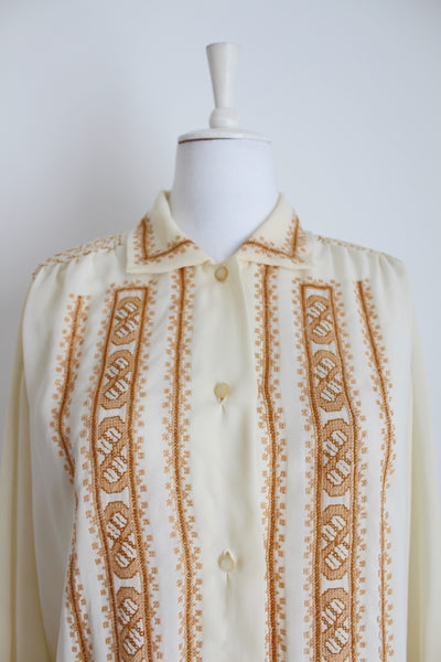 VINTAGE EMBROIDERY HAND TAILORED BLOUSE - SIZE 14