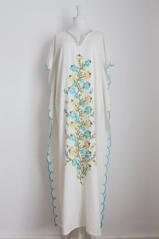 VINTAGE EMBROIDERY FLORAL CREAM KAFTAN DRESS - ONE SIZE