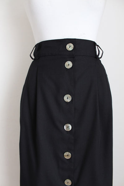 VINTAGE BUTTON DOWN BLACK PENCIL SKIRT - SIZE 12