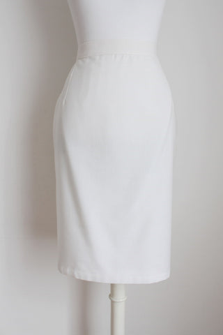 VINTAGE WHITE FITTED PENCIL SKIRT - SIZE 6