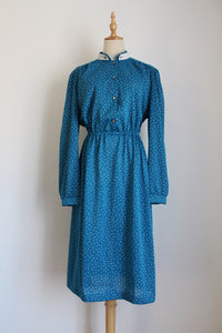 VINTAGE TEAL WHITE PRINTED LONG SLEEVE DRESS - SIZE 14/16