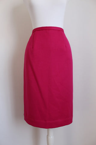 VINTAGE 100% WOOL HOT PINK PENCIL SKIRT - SIZE 8