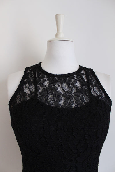 VINTAGE BLACK LACE SLEEVELESS TOP - SIZE 12