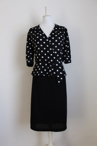 VINTAGE POLKA DOT BLACK WHITE PEPLUM DRESS - SIZE 18