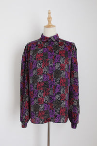 VINTAGE ABSTRACT PRINT PURPLE BLACK BLOUSE - SIZE 12