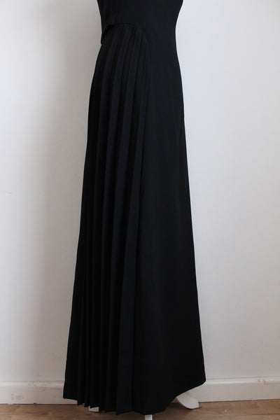 VINTAGE BLACK PLEATED EVENING DRESS - SIZE 10
