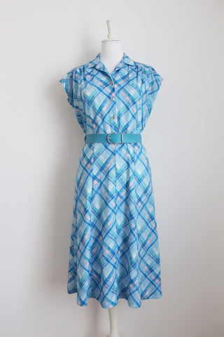 VINTAGE BLUE PLAID PRINT DRESS - SIZE 12