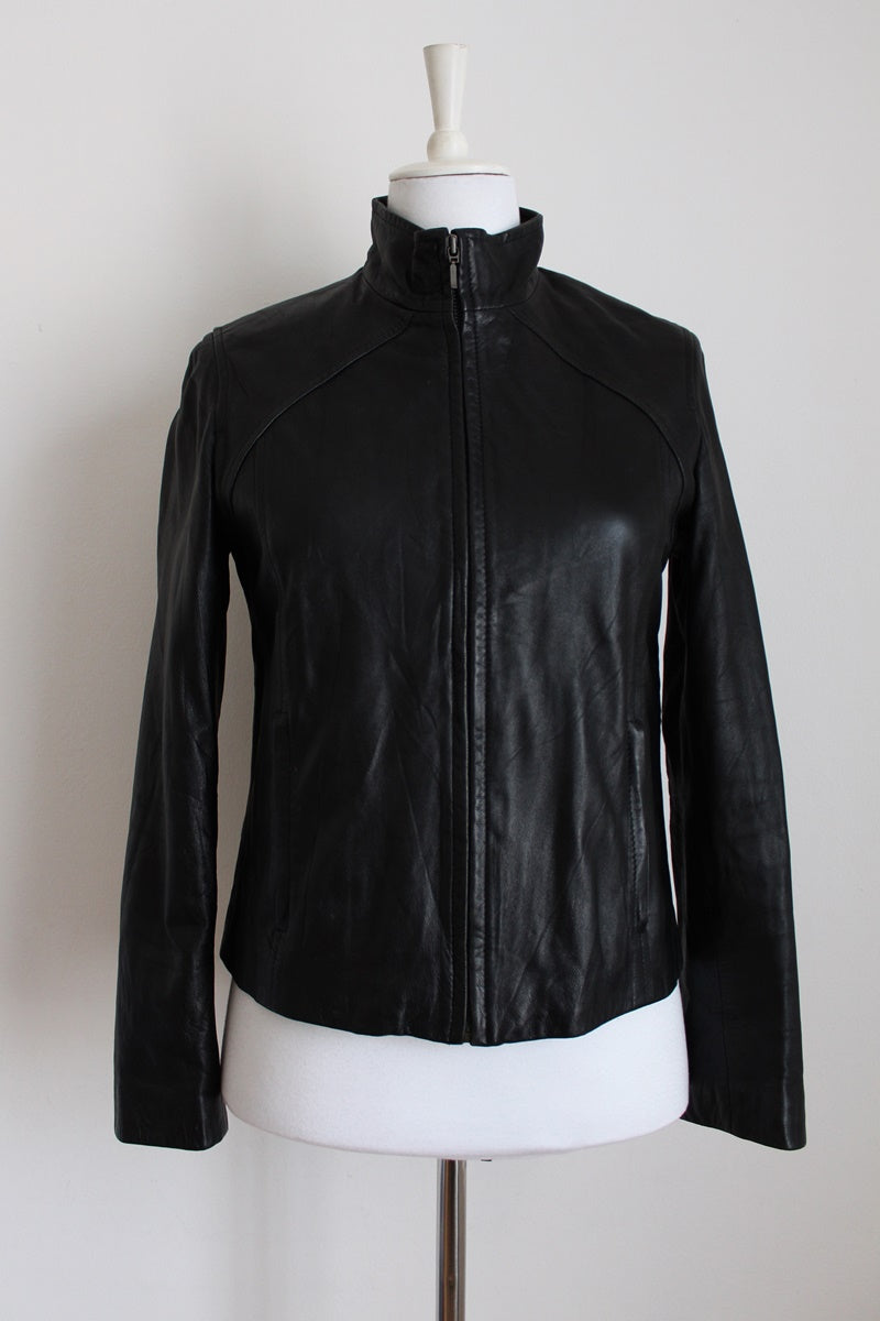 GENUINE LEATHER BLACK MOTO JACKET - SIZE 10