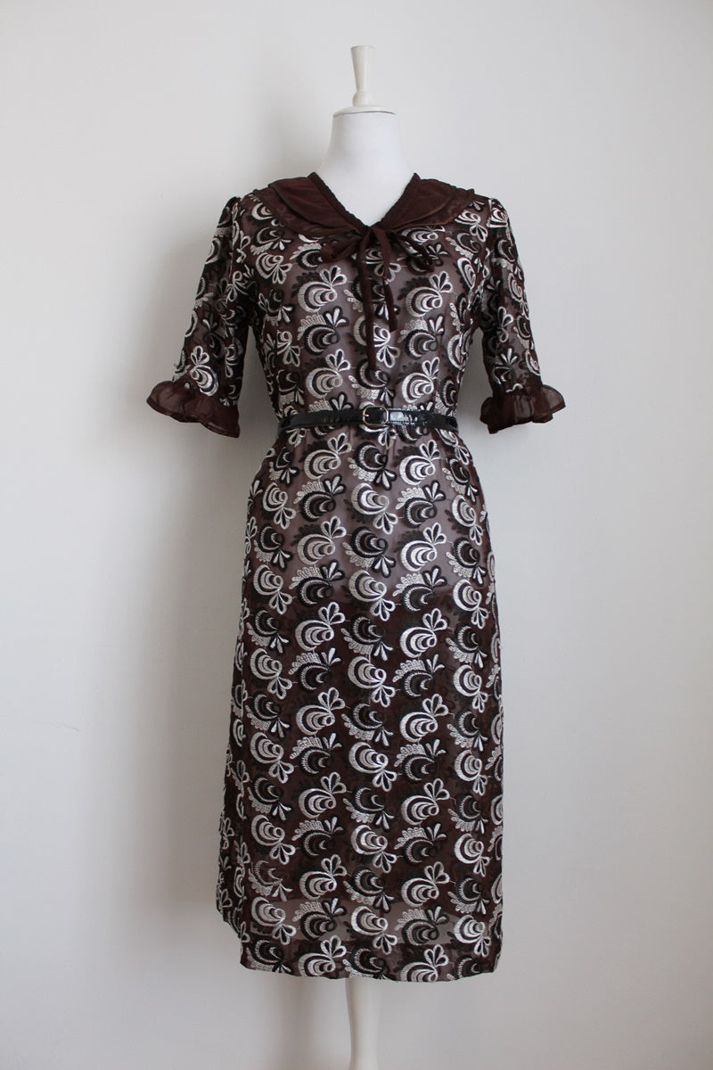 VINTAGE BROWN EMBROIDERY SHEER COCKTAIL DRESS - SIZE 12