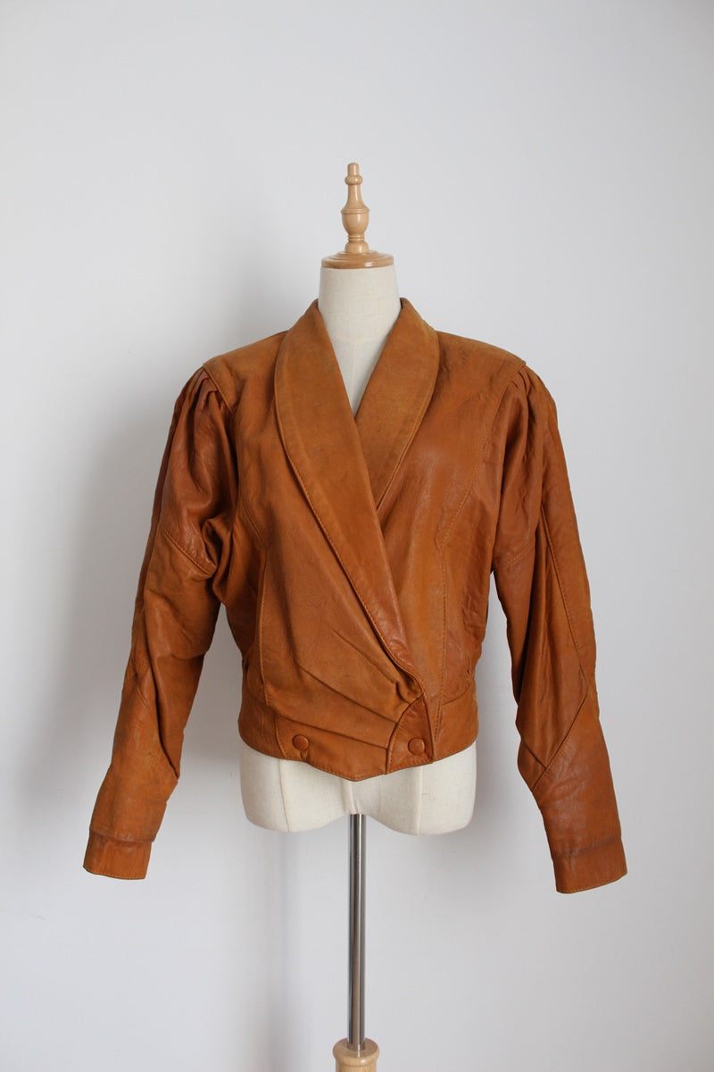 VINTAGE SAUVAGE PARIS LEATHER TAN BOMBER JACKET - SIZE 10