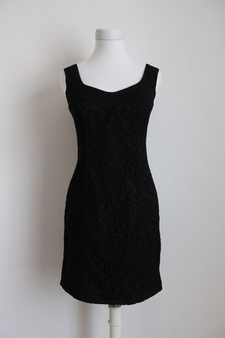 VINTAGE LACE LITTLE BLACK COCKTAIL DRESS - SIZE 8