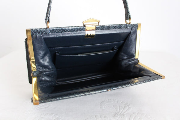 GENUINE SNAKE SKIN VINTAGE BLUE KELLY BAG