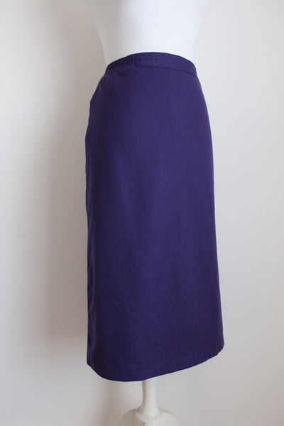 VINTAGE 100% WOOL PURPLE STRAIGHT SKIRT - SIZE 14