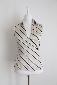 PRINGLE DESIGNER 100% SILK STRIPED WRAP TOP - SIZE 8