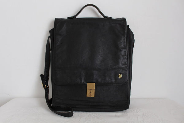 GENUINE LEATHER VINTAGE BLACK SATCHEL BAG