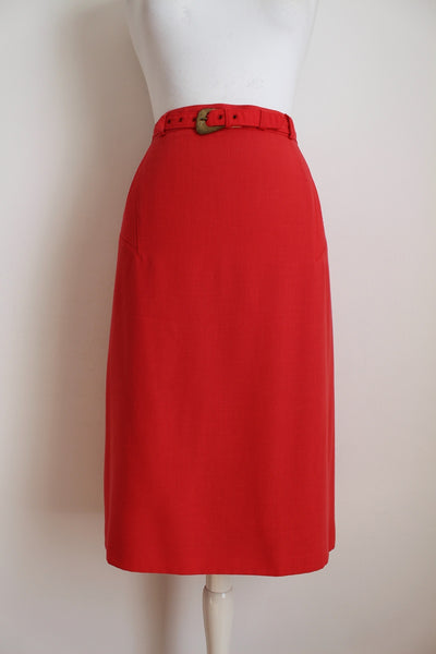 VINTAGE CORAL BELTED PENCIL SKIRT - SIZE 12