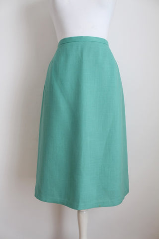 VINTAGE MINT GREEN WOOL HIGH WAIST SKIRT - SIZE 10