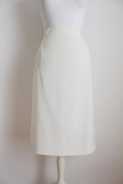 VINTAGE WHITE MIDI PENCIL SKIRT - SIZE 12