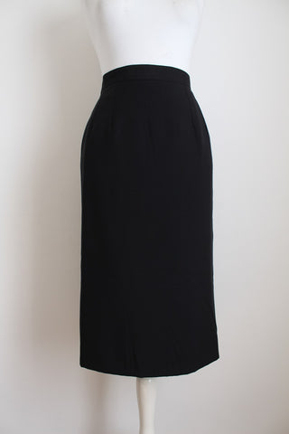 VINTAGE DAKS LONDON BLACK PENCIL SKIRT - SIZE 14