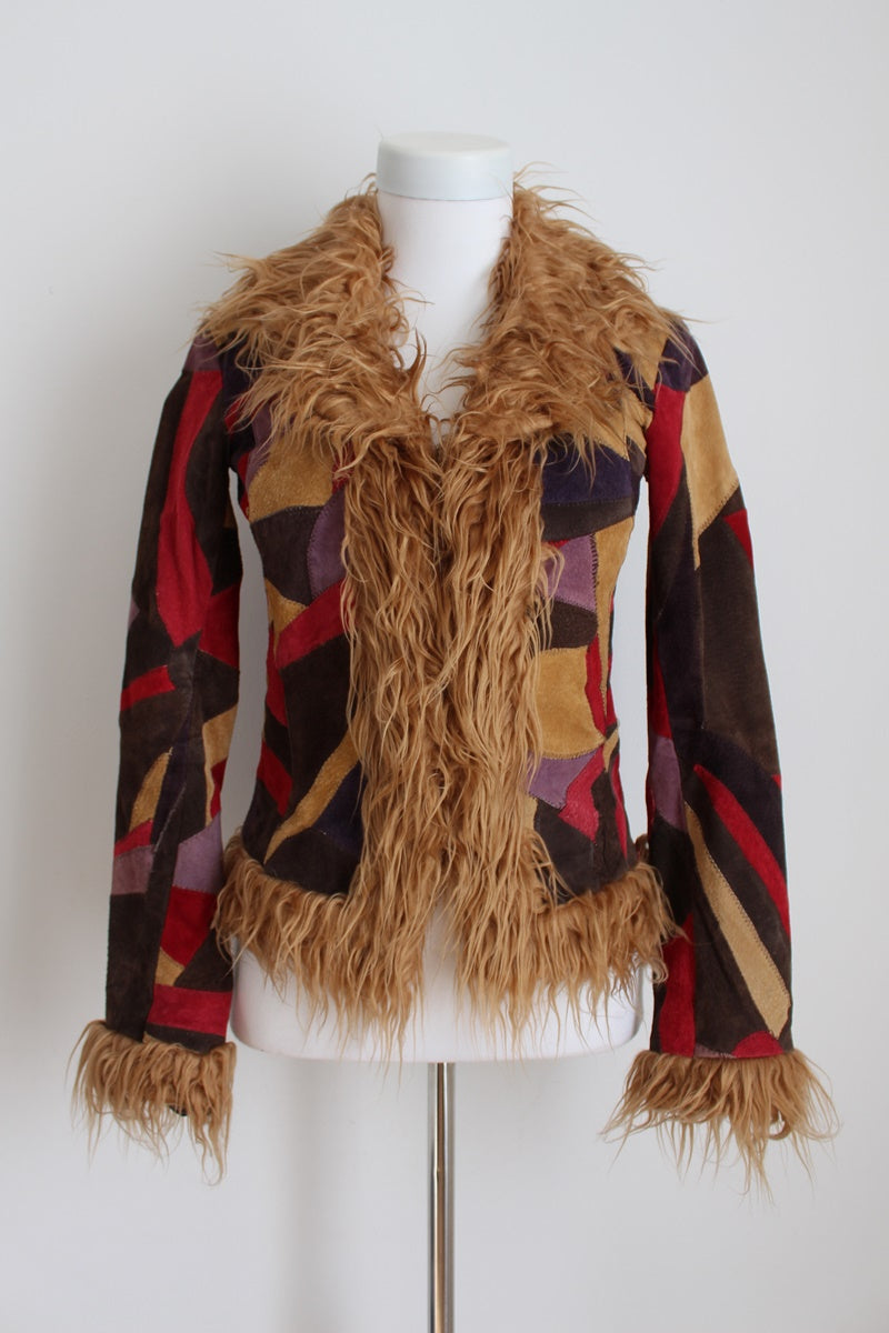 GENUINE SUEDE LEATHER PATCH FAUX FUR JACKET - SIZE 6