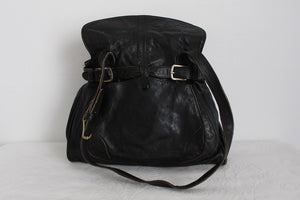 VINTAGE GENUINE LEATHER BLACK TOTE SHOULDER HANDBAG
